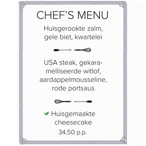 chefs menu Amstel boathouse restaurant Amsterdam